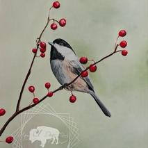 Chickadee anf Berries Original Artwork Thumbnail