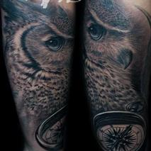 Great horned owl and compass  Tattoo Design Thumbnail