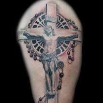 Jesus Christ crucifixion and Rosary  Tattoo Design Thumbnail