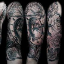Clock flowers diamonds and hourglass  Tattoo Design Thumbnail