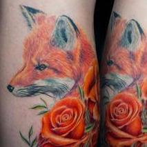 Red Fox Roses Tattoo Design Thumbnail