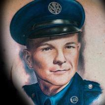 Grandfather Airforce Portrait  Tattoo Design Thumbnail